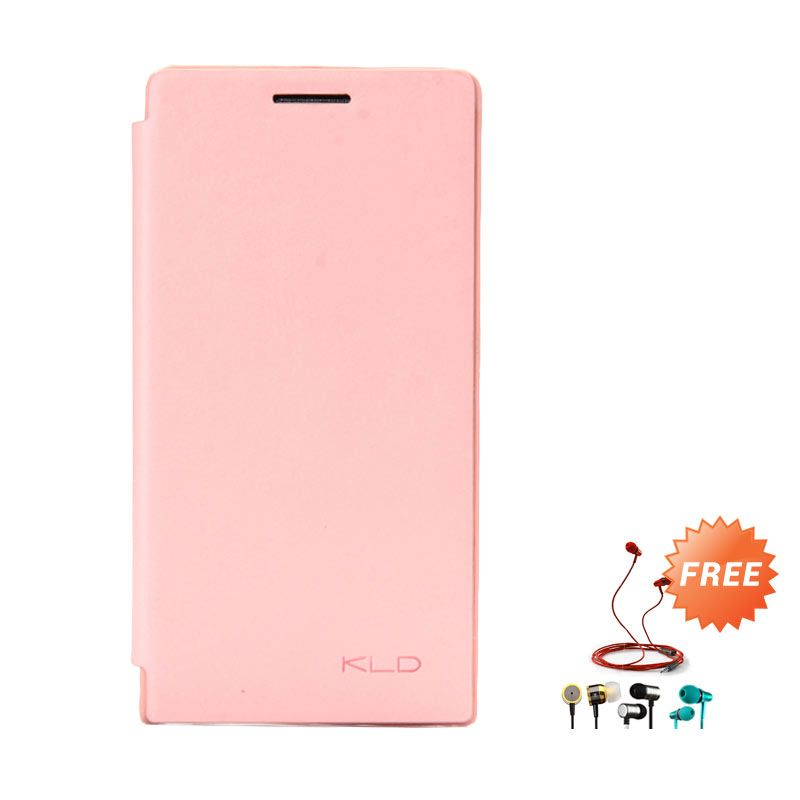 Kalaideng Enland Leather Flip Cover Series Peach Casing for Huawei Ascend P6 + Earphone
