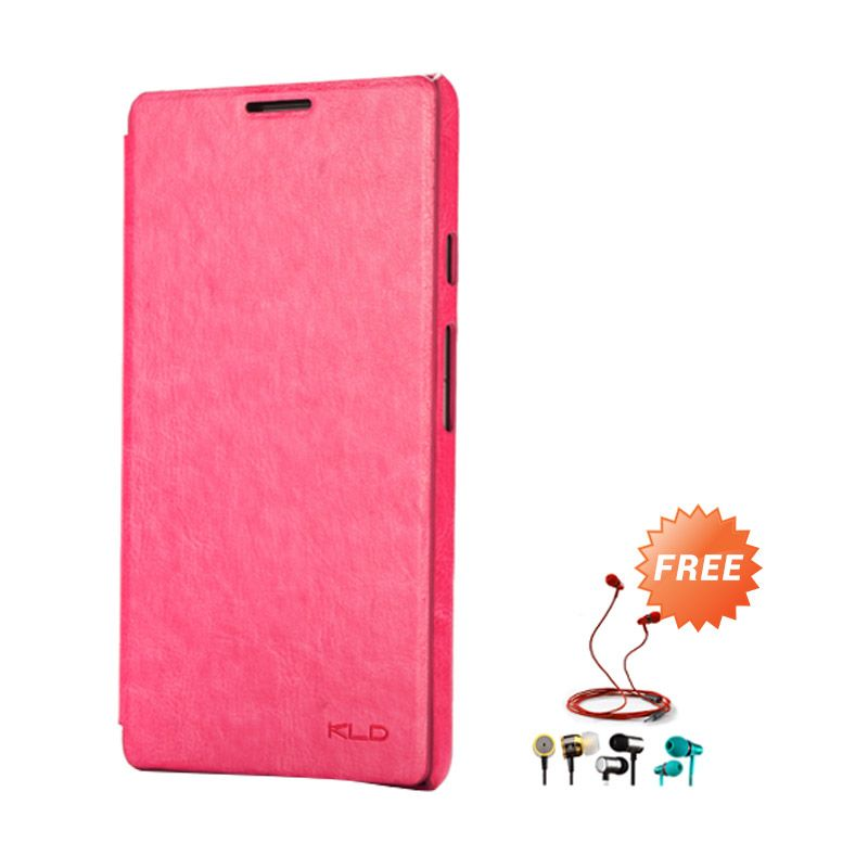 Kalaideng Enland Leather Flip Cover Series Pink Casing for Huawei Ascend Mate 6.1 + Earphone