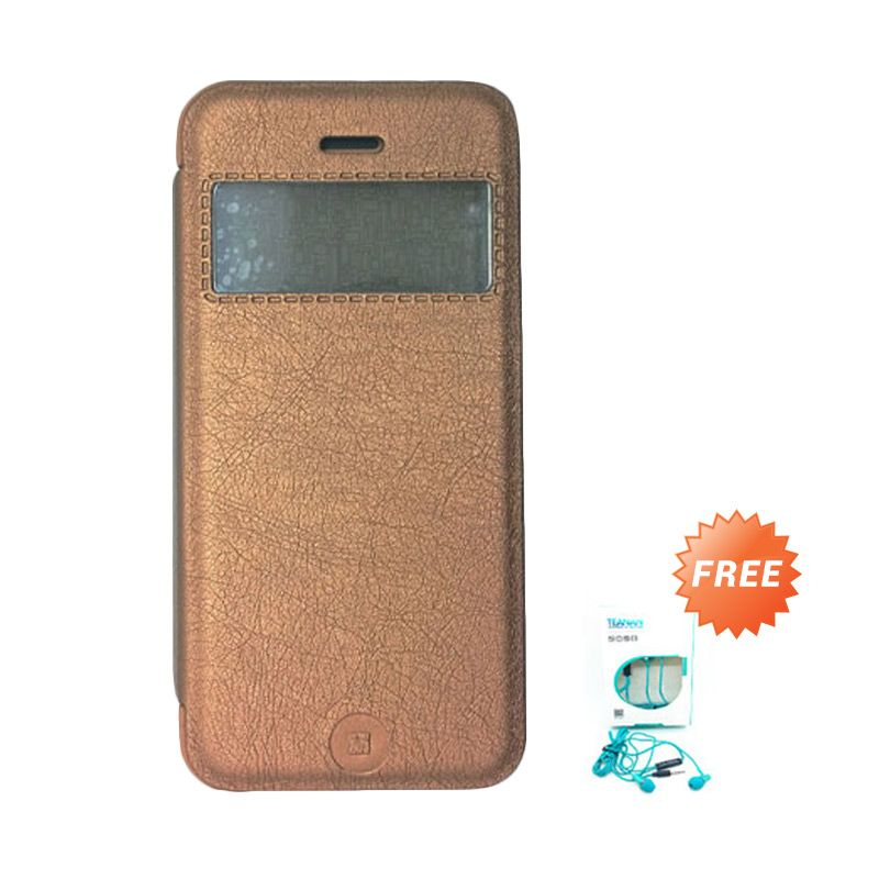 Kalaideng KA Series Cokelat Leather Casing for iPhone 5 or 5S or SE + Earphone