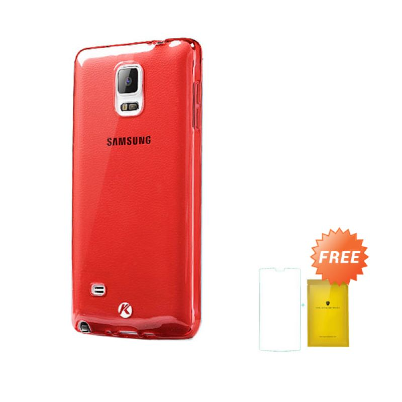 Kalaideng Air Series Red Soft Case Casing for Samsung Galaxy Note 4 + Tempered Glass Screen Protector