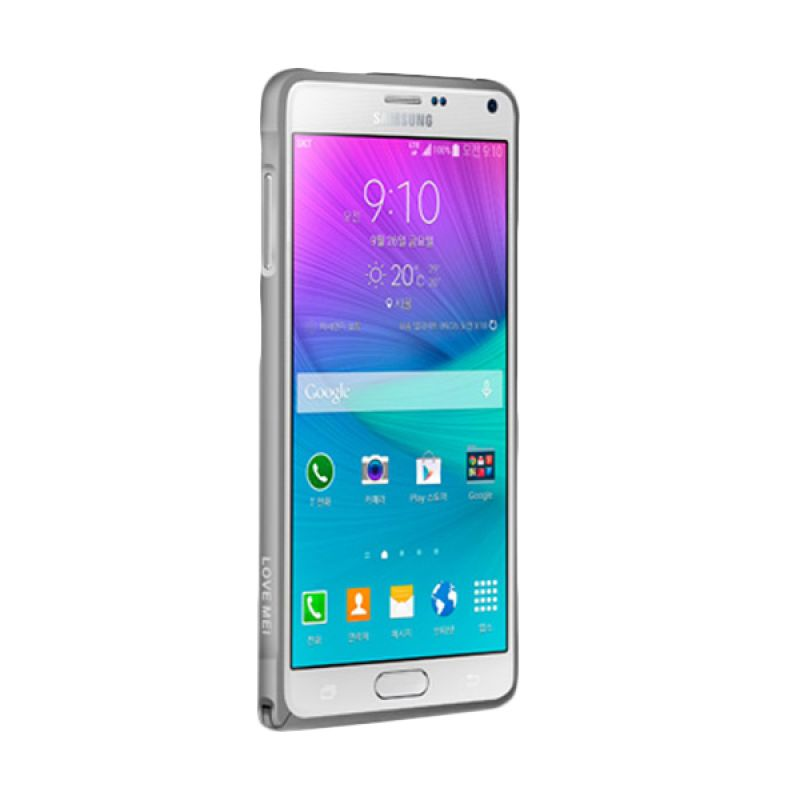 Love Mei Metal Bumper Abu-abu Casing for Samsung Galaxy Note 4