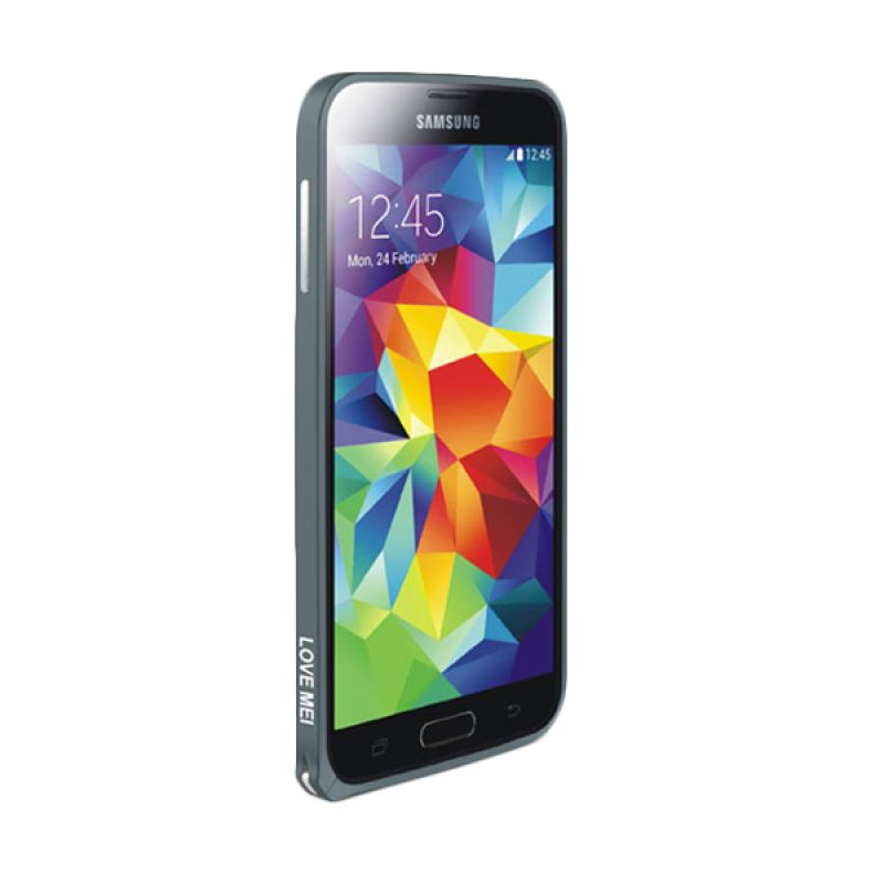 Love Mei Metal Bumper Abu-abu Casing for Samsung Galaxy S5