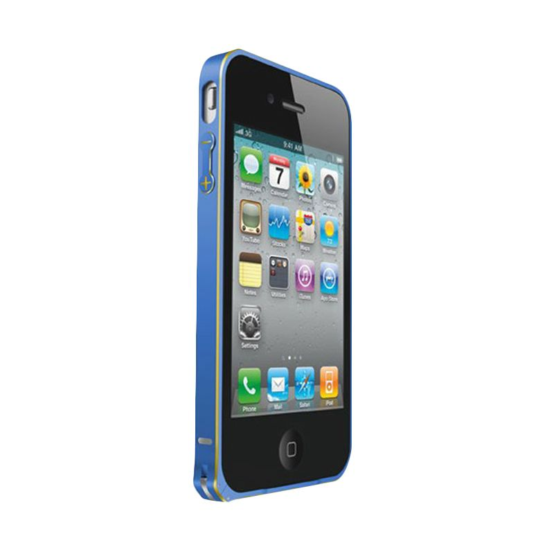 Love Mei Metal Bumper Biru Casing for iPhone 4 or 4s