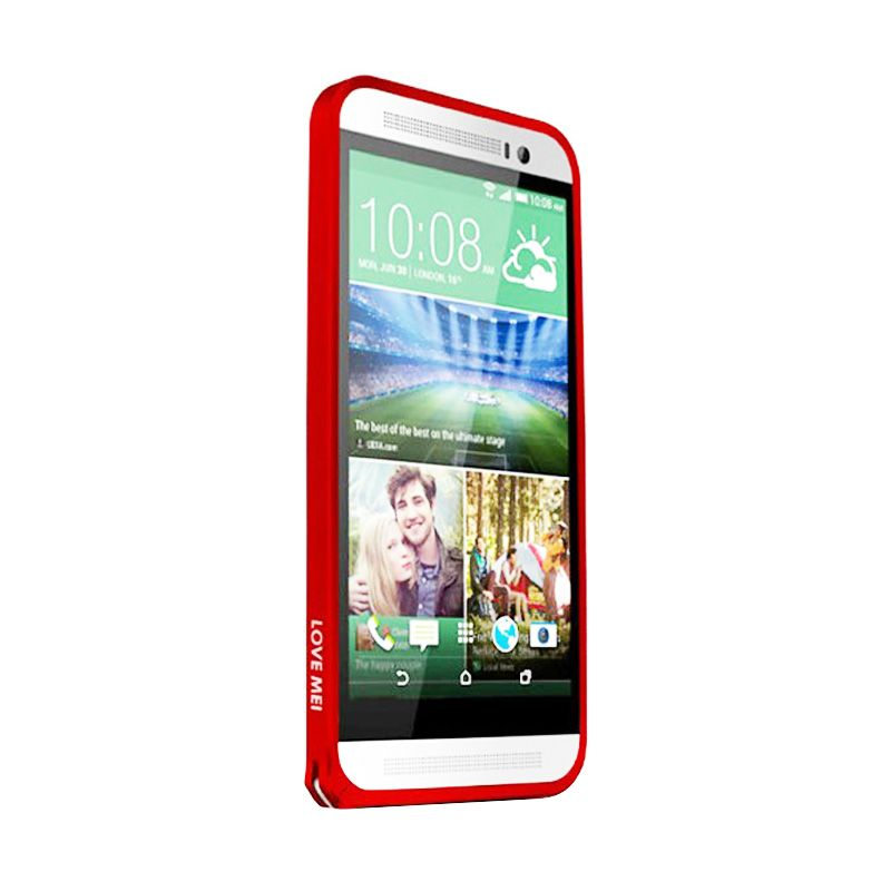 Love Mei Metal Bumper Merah Casing for HTC ONE E8