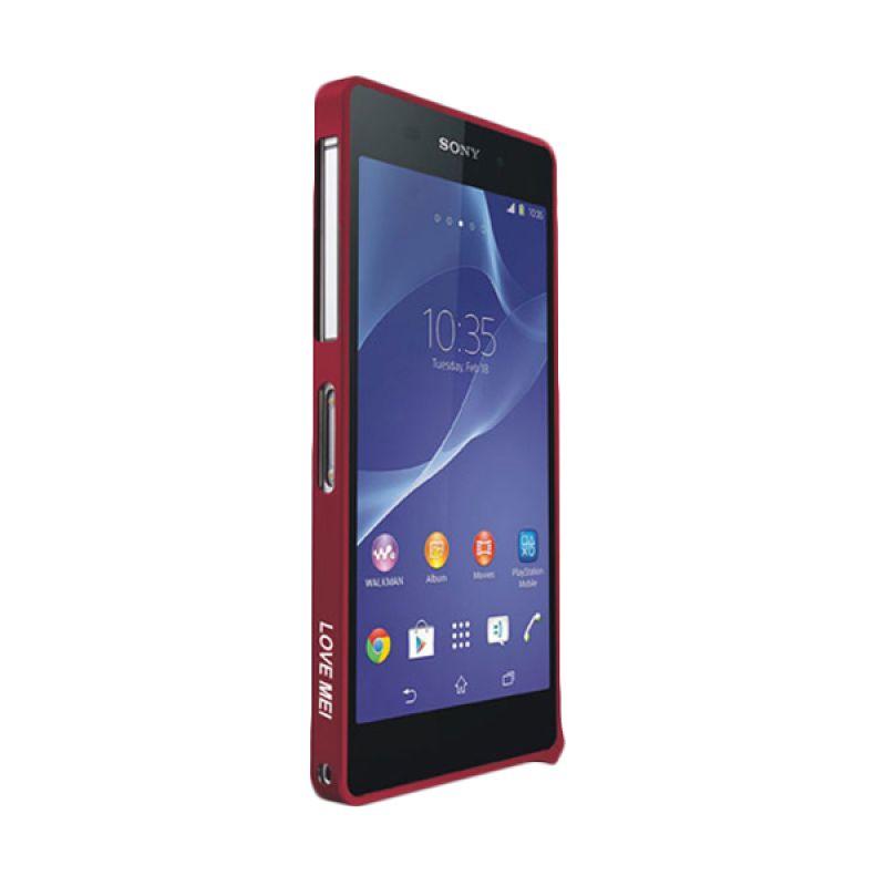 Love Mei Metal Bumper Merah Casing for Sony Xperia Z2