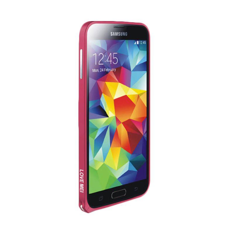 Love Mei Metal Bumper Pink Tua Casing for Samsung Galaxy S5