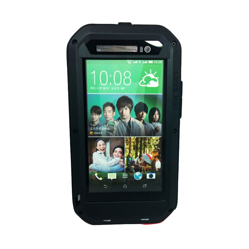 Love Mei Powerful Hitam Bumper Casing with Gorilla Glass for HTC ONE E8
