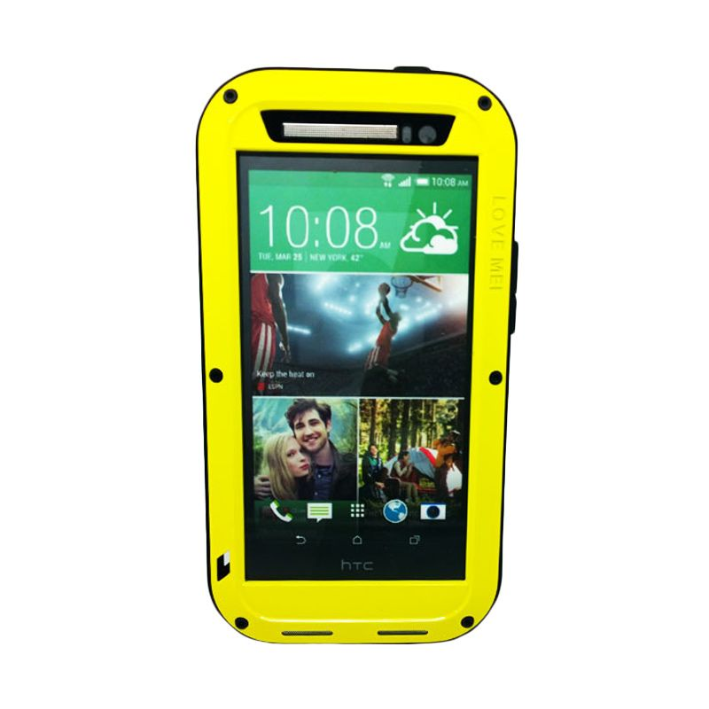 Love Mei Powerful Kuning Bumper Casing with Gorilla Glass for HTC ONE M8