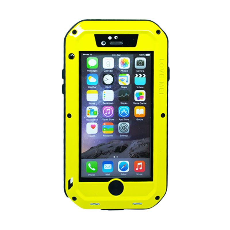 Love Mei Powerful Bumper Case with Gorilla Glass Kuning Casing for iPhone 6