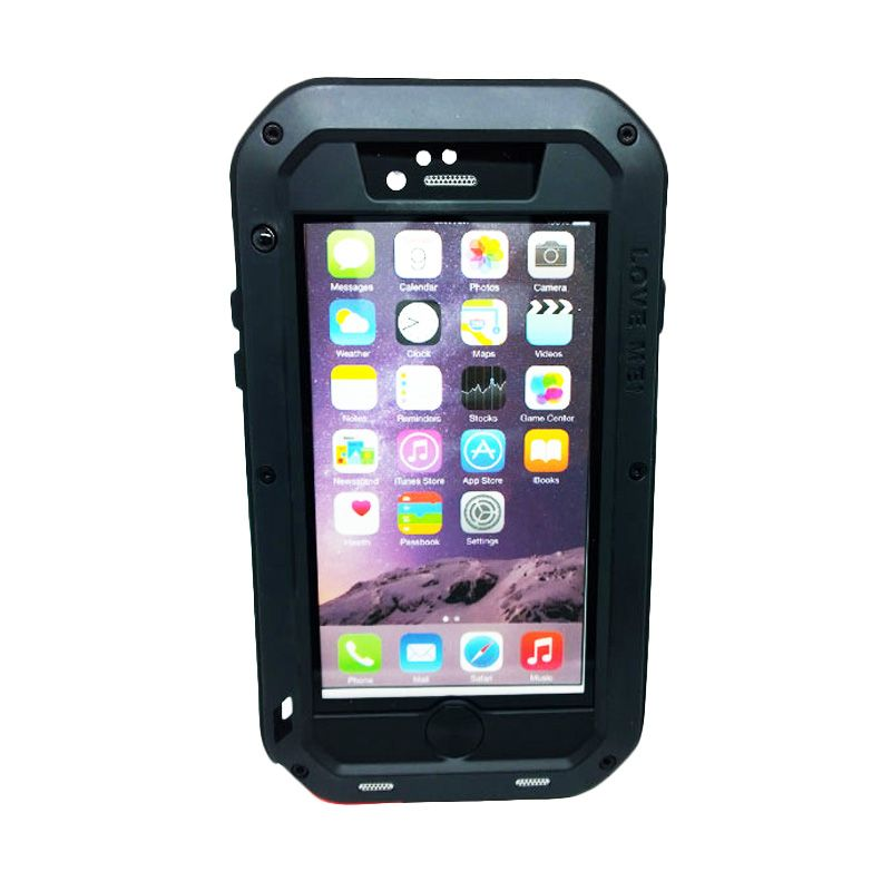 Love Mei Powerful Bumper with Gorilla Glass Black Casing for iPhone 6