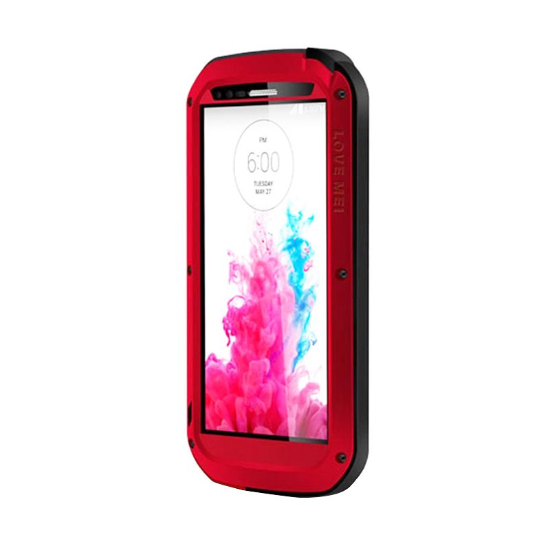 Love Mei Powerful Bumper with Gorilla Glass Red Casing for LG G3