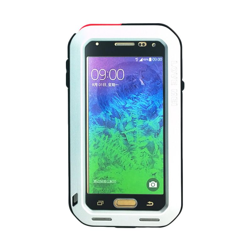 Love Mei Powerful Bumper with Gorilla Glass Silver Casing for Samsung Galaxy Alpha