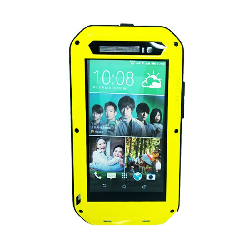 Love Mei Powerful Bumper with Gorilla Glass Yellow Casing for HTC ONE E8
