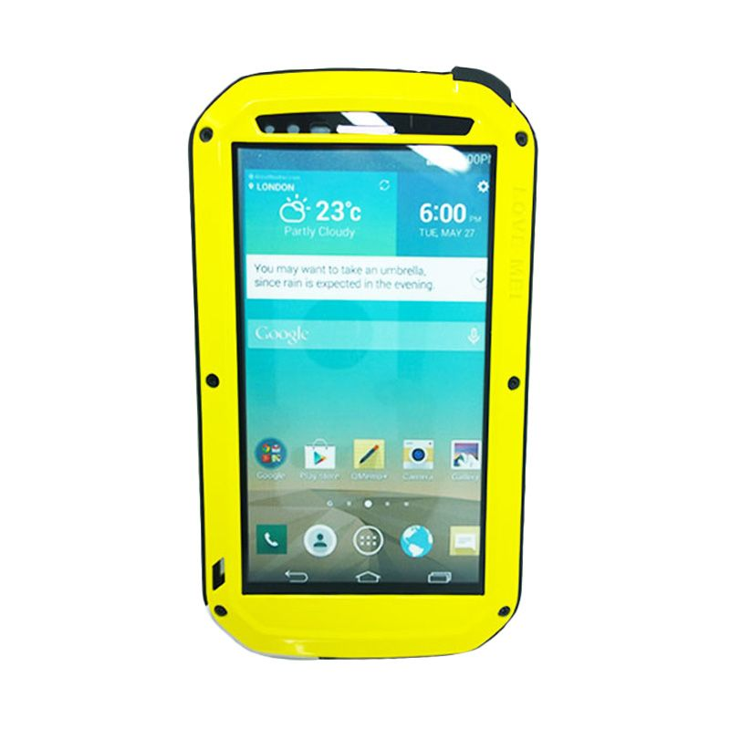 Love Mei Powerful Bumper with Gorilla Glass Yellow Casing for LG G3