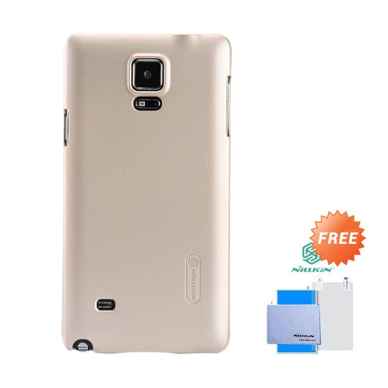 Nillkin Frosted Shield Gold Hardcase Casing for Samsung Galaxy Note 4 + Screen Guard