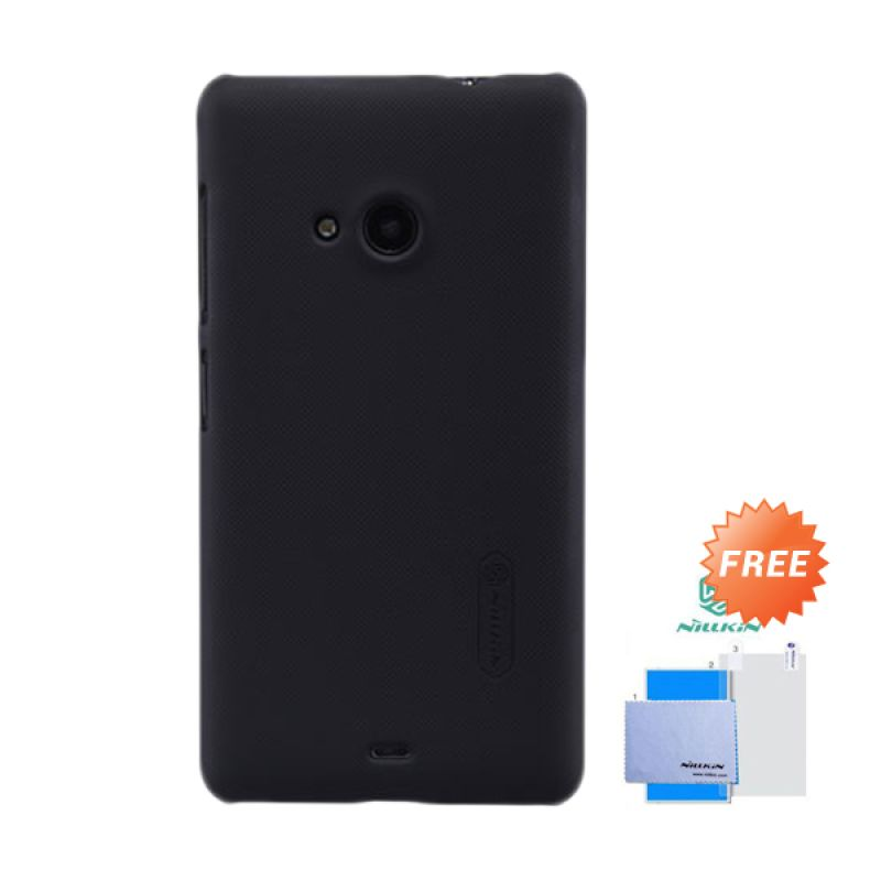 Nillkin Frosted Shield Hitam Hardcase Casing for Nokia Lumia 535 + Screen Guard
