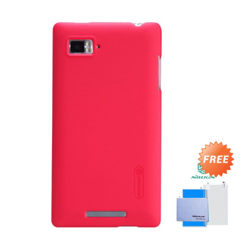 Nillkin Frosted Shield Merah Hardcase Casing for Lenovo Vibe Z + Screen Guard