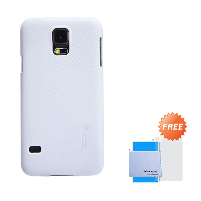Nillkin Frosted Shield White Hardcase Casing for Samsung Galaxy S5 + Screen Guard