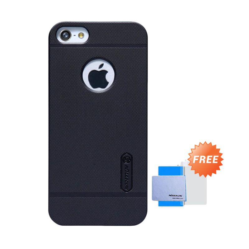 Nillkin Frosted Shield Hitam Casing for iPhone 5 or 5S or SE + Screen Guard