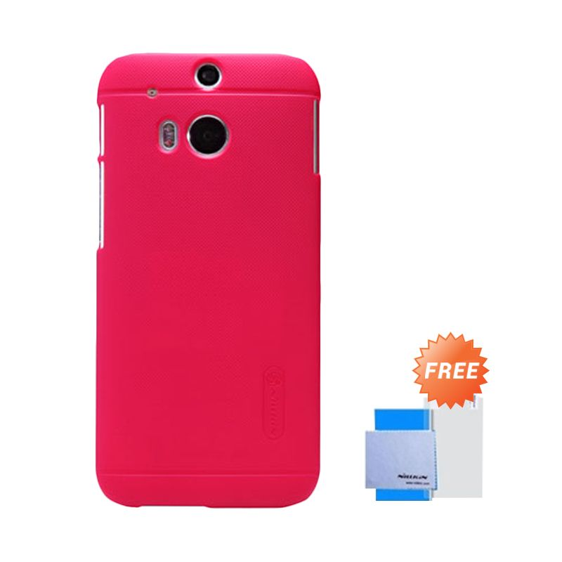 Nillkin Frosted Shield Merah Casing for HTC New One M8 + Screen Guard