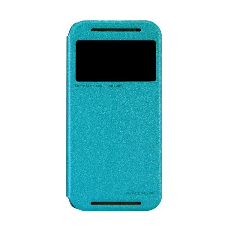 Nillkin Sparkle Leather Biru Flip Cover Casing for HTC ONE 2 M8