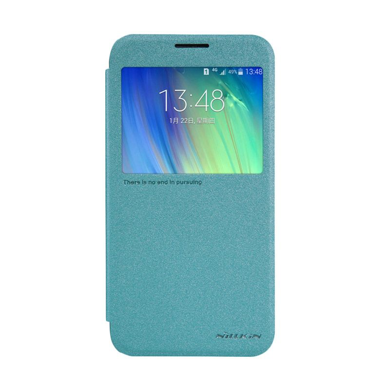 Nillkin Sparkle Leather Biru Flip Cover Casing for Samsung Galaxy E7