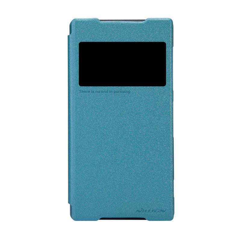 Nillkin Sparkle Leather Biru Flip Cover Casing for Sony Xperia Z2