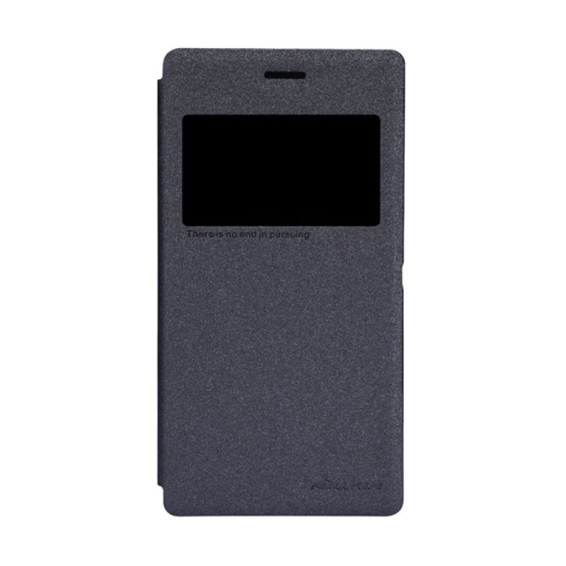 Nillkin Sparkle Leather Hitam Flip Cover Casing for Sony Xperia M2