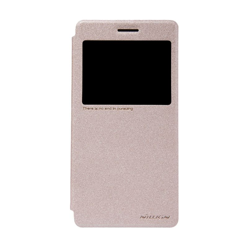 Nillkin Sparkle Leather Gold Flip Cover Casing for Lenovo K3 Note A7000