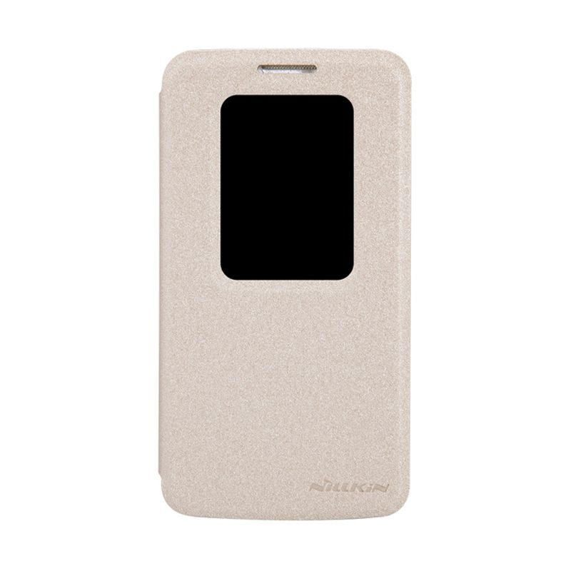 Nillkin Sparkle Leather Gold Flip Cover Casing for LG G2 Mini