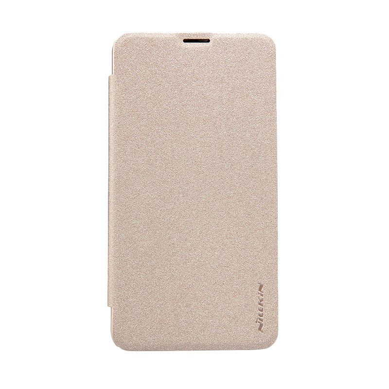 Nillkin Sparkle Leather Gold Flip Cover Casing for Nokia Lumia 640