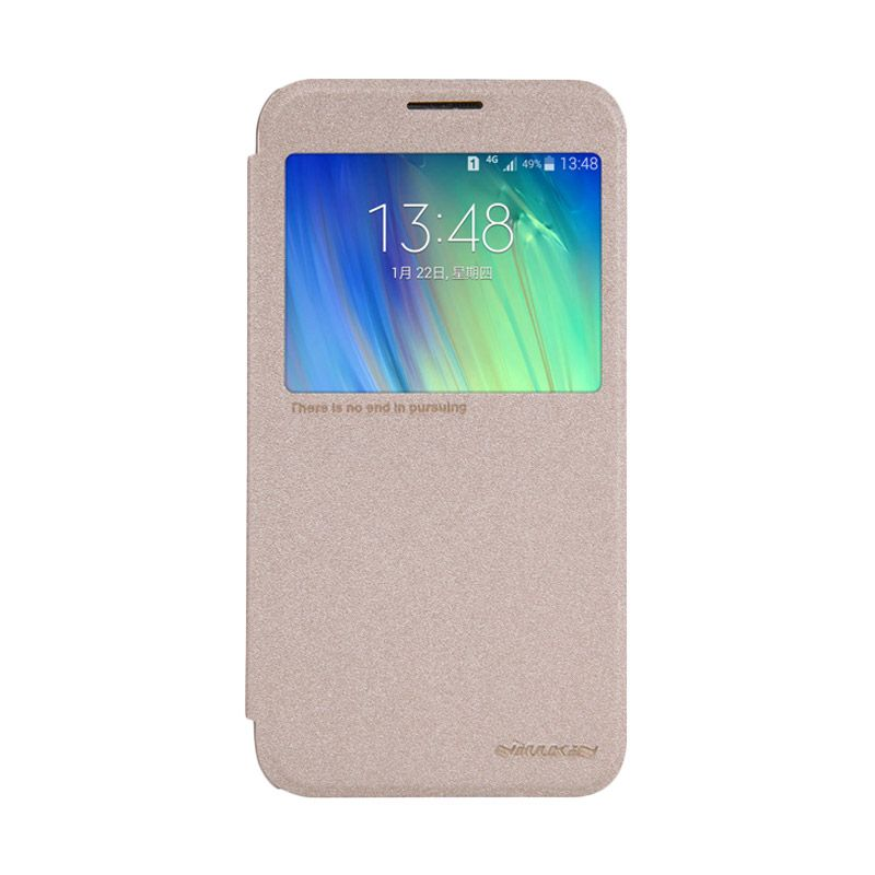 Nillkin Sparkle Leather Gold Flip Cover Casing for Samsung Galaxy E7