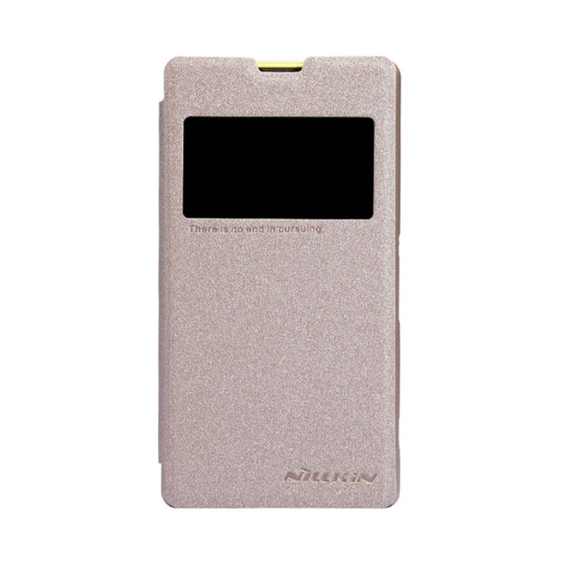 Nillkin Sparkle Leather Flip Cover Gold Casing for Sony Xperia Z1 Mini Compact