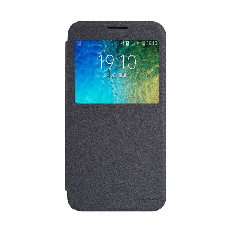 Nillkin Sparkle Leather Hitam Flip Cover Casing for Samsung Galaxy E5