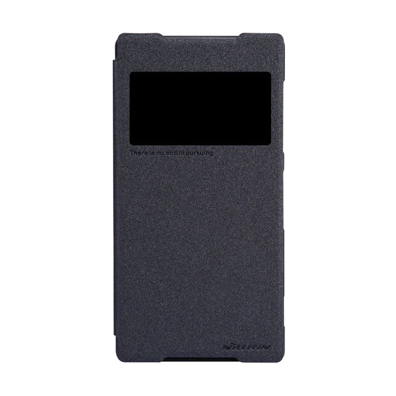 Nillkin Sparkle Leather Hitam Flip Cover Casing for Sony Xperia Z2