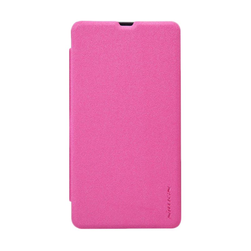 Nillkin Sparkle Leather Pink Flip Cover Casing for Nokia Lumia 535