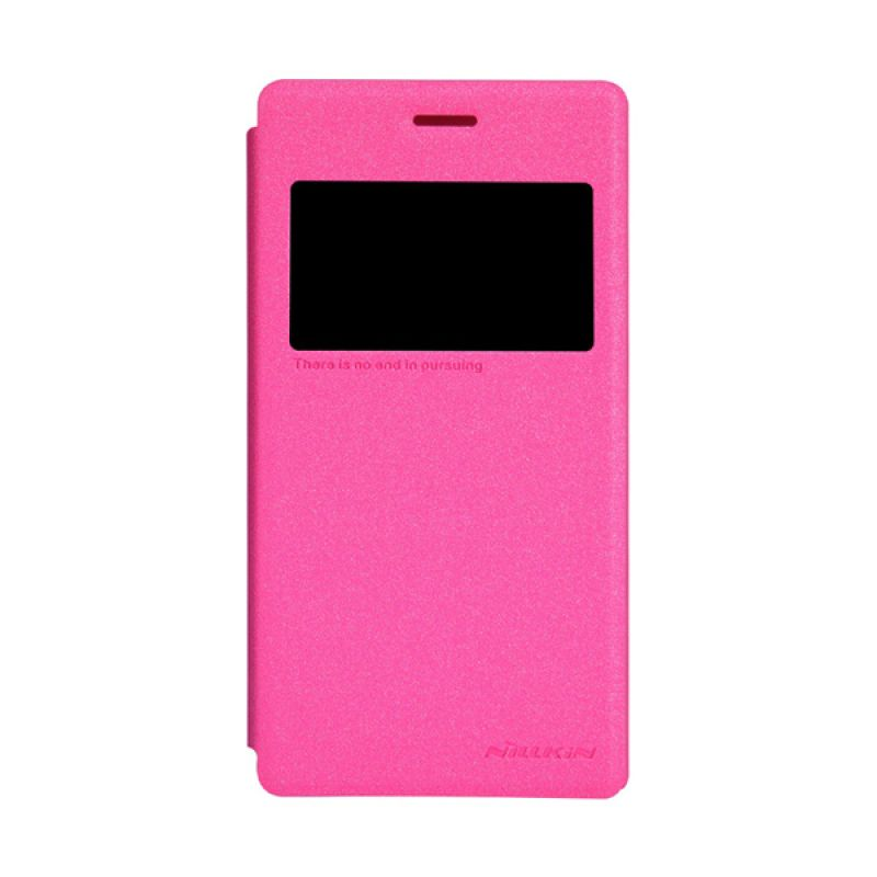 Nillkin Sparkle Leather Pink Flip Cover Casing for Sony Xperia M2