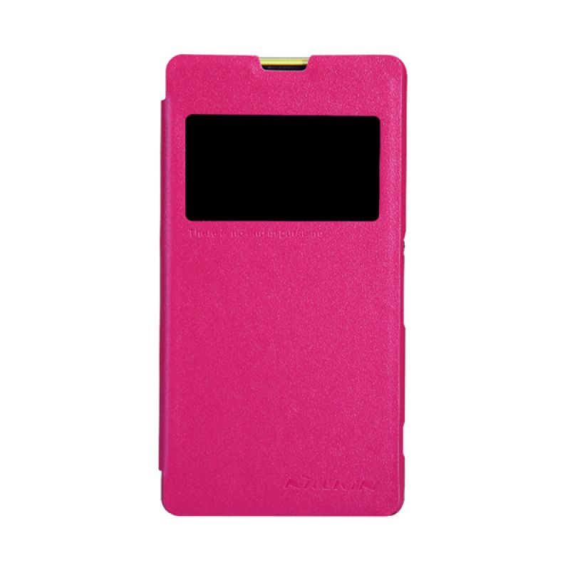 Nillkin Sparkle Leather Flip Cover Pink Casing for Sony Xperia Z1 Mini Compact