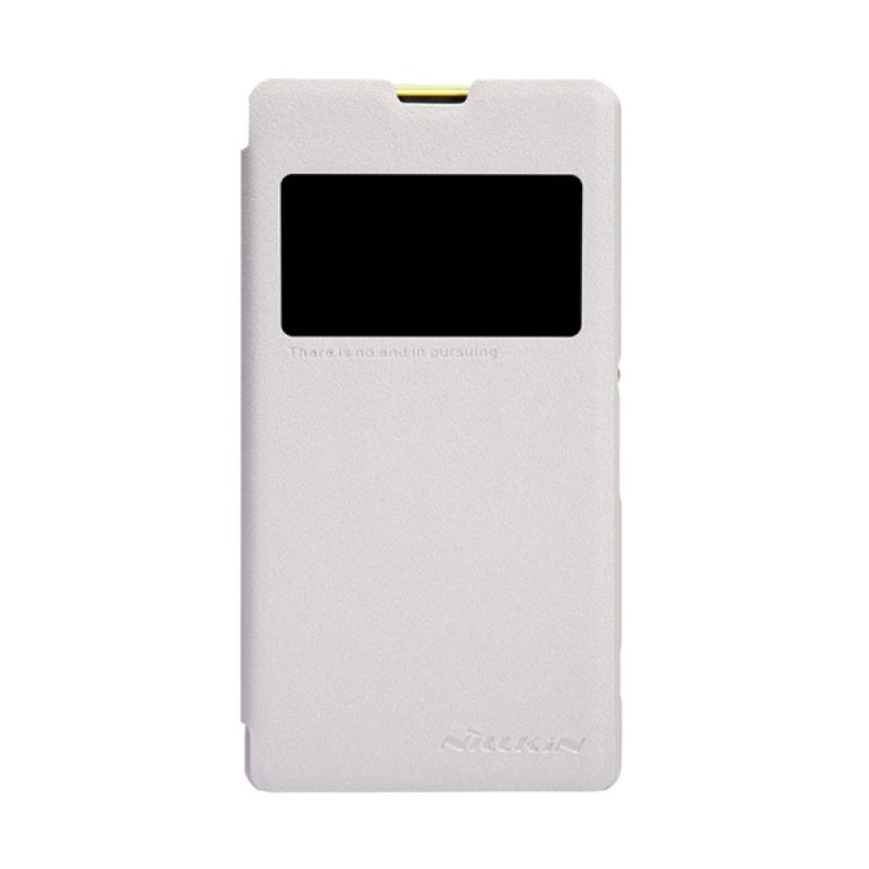 Nillkin Sparkle Leather Flip Cover Putih Casing for Sony Xperia Z1 Mini Compact