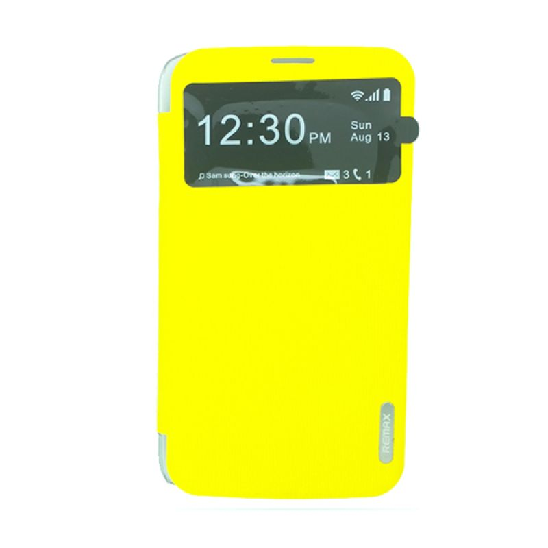 Remax Youth Leather Kuning Flip Cover Casing for Samsung Galaxy Mega 6.3 i9200