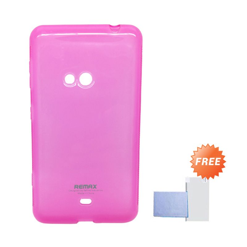 Remax Pudding Soft Case Pink Casing for Nokia Lumia 625 + Screen Guard