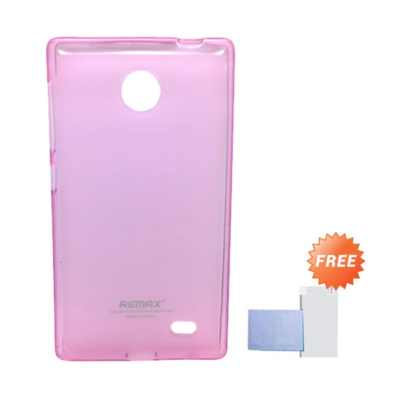 Remax Pudding Soft Case Pink Casing for Nokia X + Screen Guard
