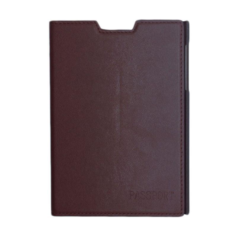 Sikai Leather Cokelat Flip Cover Casing for Blackberry Passport
