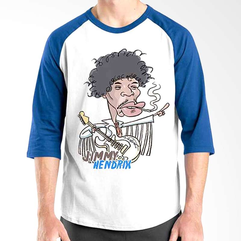 Ordinal Cartoon Musician Edition Jimmy Hendrix Blue White Raglan