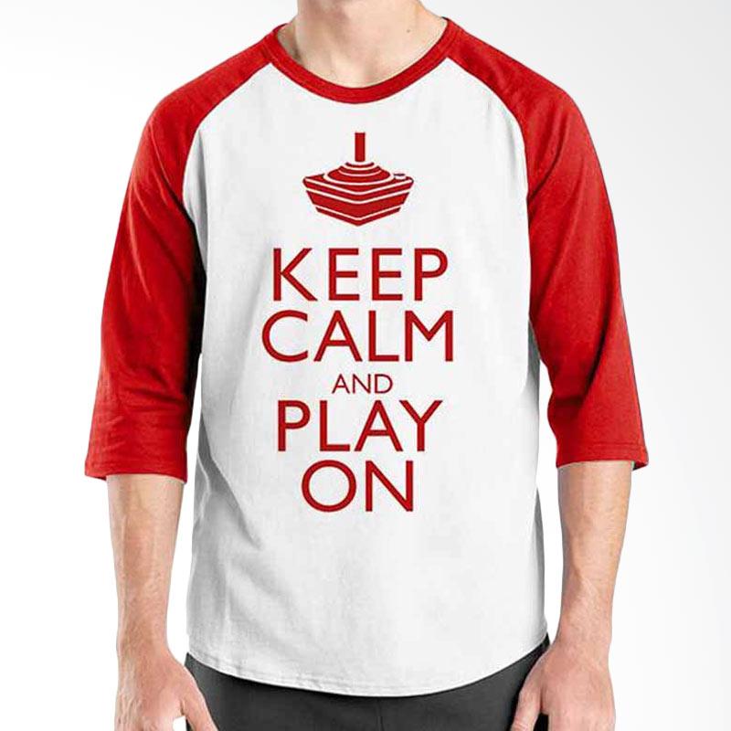 Ordinal Keep Calm and Play On Red White Raglan