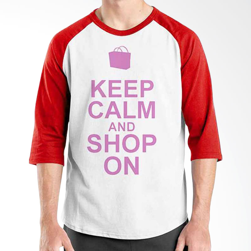 Ordinal Keep Calm and Shop On Red White Raglan