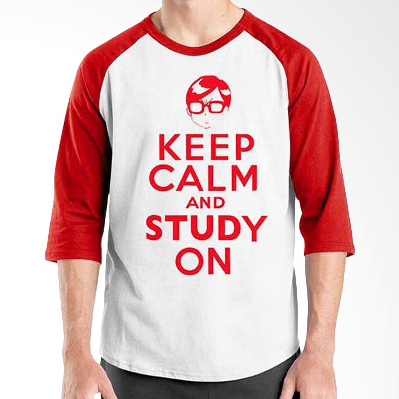 Ordinal Keep Calm and Study On Red White Raglan
