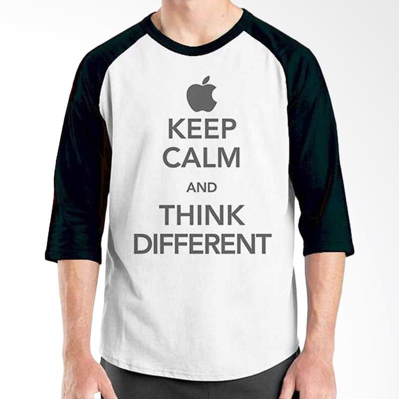 Ordinal Keep Calm and Think Different Black White Raglan