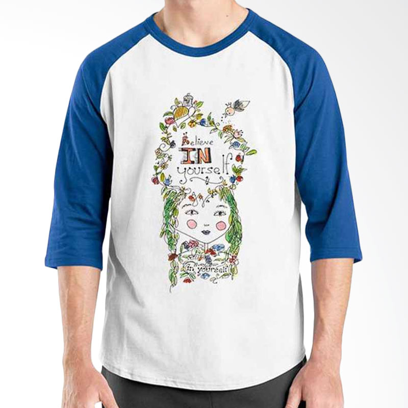 Ordinal Motivation Quotes Edition Believe in Your Self Blue White Raglan
