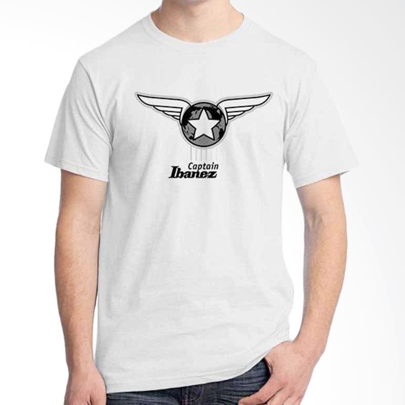 Ordinal Music Gear Edition Captain Ibanez White Kaos Pria